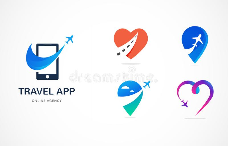 Travel agency, tourism app and trips logo, adventure tours, vector modern icon and element stock illustration