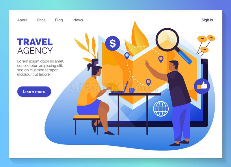 Travel agency, tours online booking web banner. Travel agency website template design, vacations and holiday travel online tours shop web banners. Travel agency vector illustration