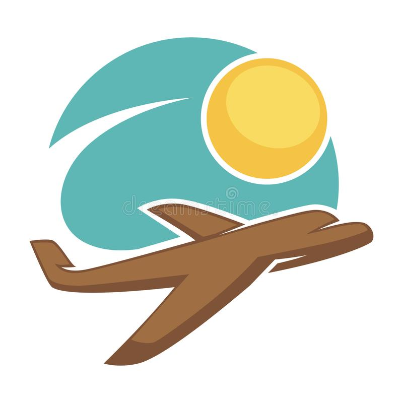 Travel agency vector icon template tourism airplane sun sky. Travel agency logo template of airplane in sky and sun. Vector isolated icon of flying aircraft for stock illustration