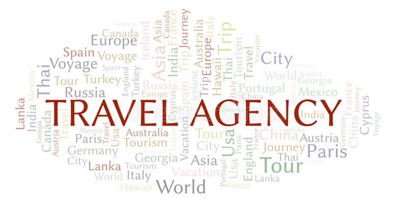 Travel Agency word cloud. Wordcloud made with text only royalty free illustration