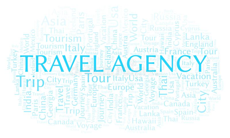 Travel Agency word cloud. Wordcloud made with text only stock illustration