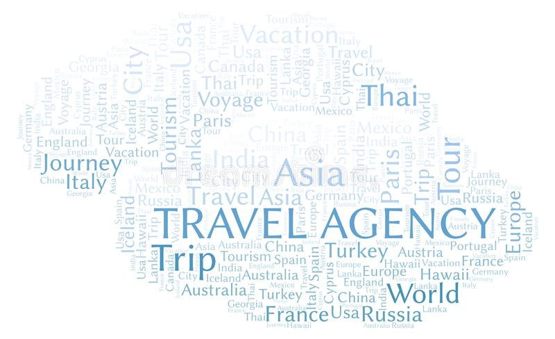 Travel Agency word cloud. Wordcloud made with text only vector illustration