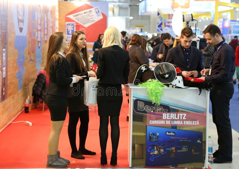 Travel agents at National Tourism Fair of Romania. 2018 in Bucharest at Romexpo pavilion stock photography