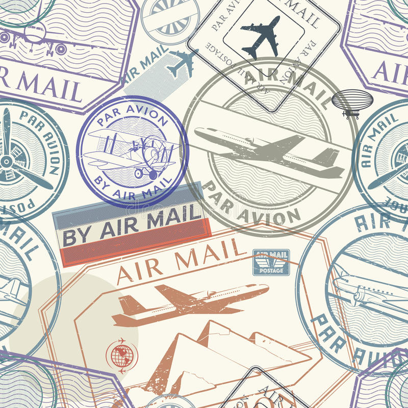 Travel or air mail grunge rubber stamps set, seamless pattern royalty free illustration