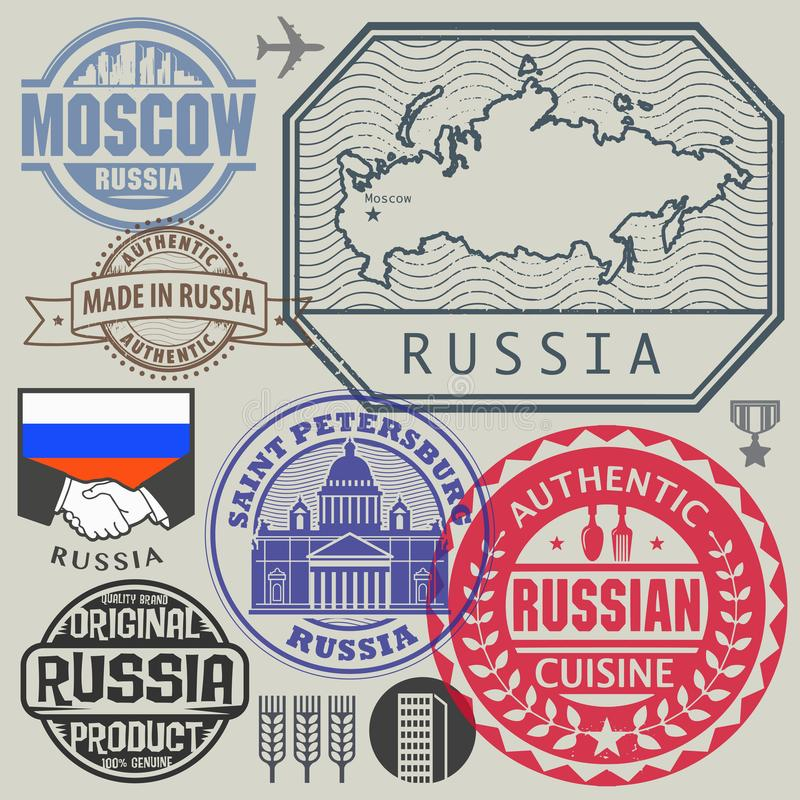 Travel or airport stamps or symbols set Russia vector illustration
