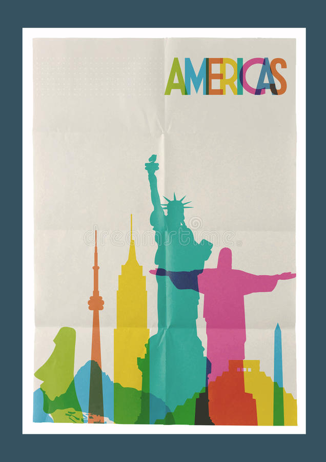 Travel Americas landmarks skyline vintage poster royalty free illustration