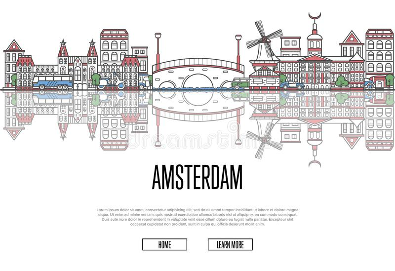 Travel Amsterdam poster in linear style. Travel Amsterdam poster with famous architectural attractions in linear style. Netherlands country traveling concept vector illustration