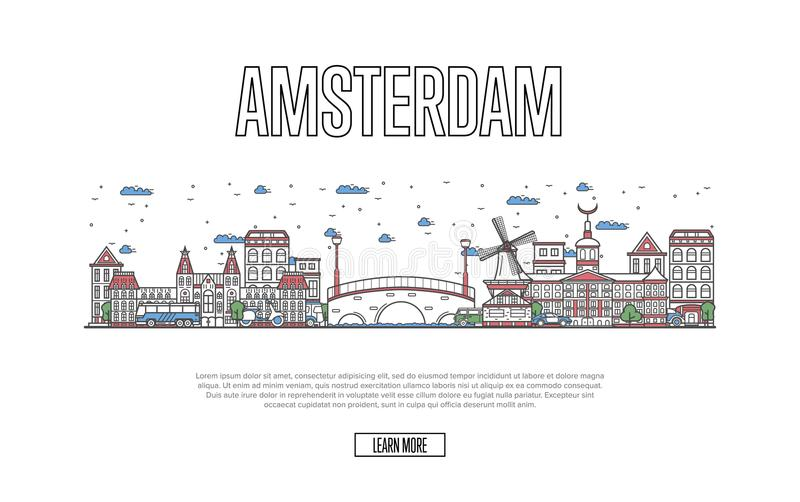 Travel Amsterdam poster in linear style. Travel Amsterdam poster with architectural attractions in linear style. Worldwide traveling and time to travel concept royalty free illustration