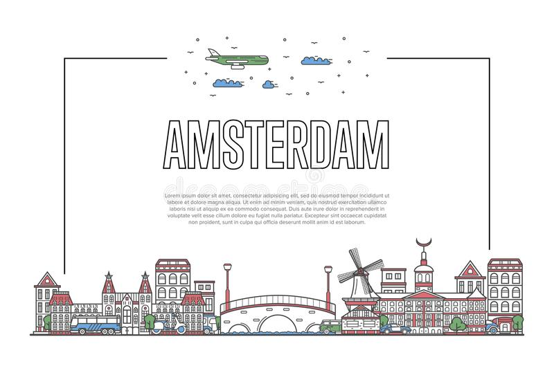 Travel Amsterdam poster in linear style. Travel Amsterdam poster with famous architectural attractions in linear style. Holland traveling and time to travel stock illustration
