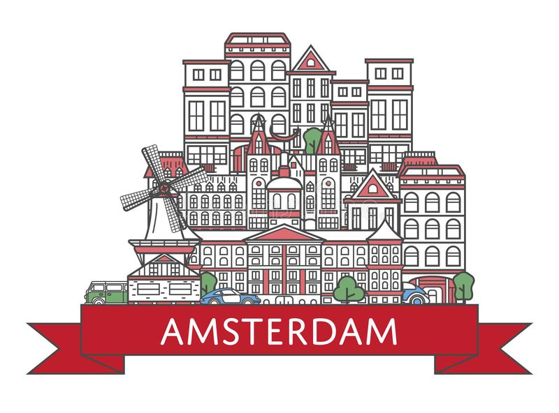Travel Amsterdam poster in linear style. Travel Amsterdam poster with national architectural attractions in trendy linear style. Amsterdam famous landmarks on stock illustration