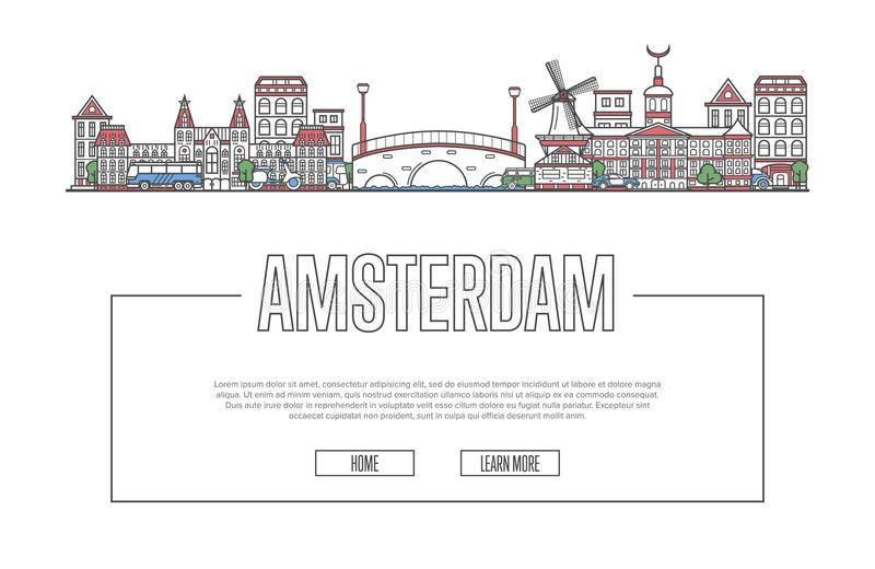 Travel Amsterdam poster in linear style. Travel Amsterdam vector composition with famous architectural landmarks in linear style. Holland traveling, time to royalty free illustration