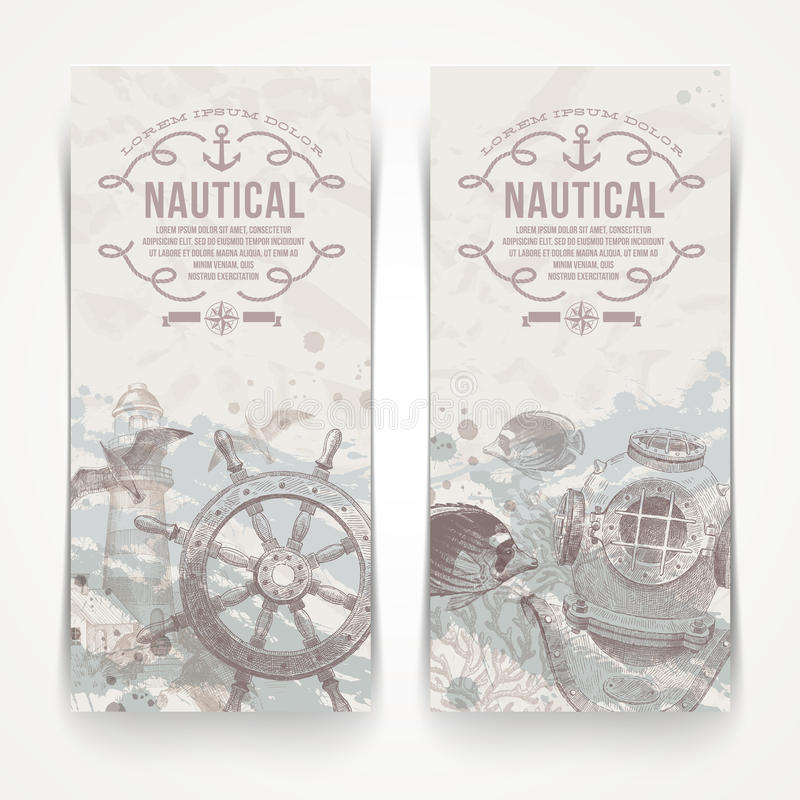 Free Travel And Nautical Vintage Banners Royalty Free Stock Images - 33124269
