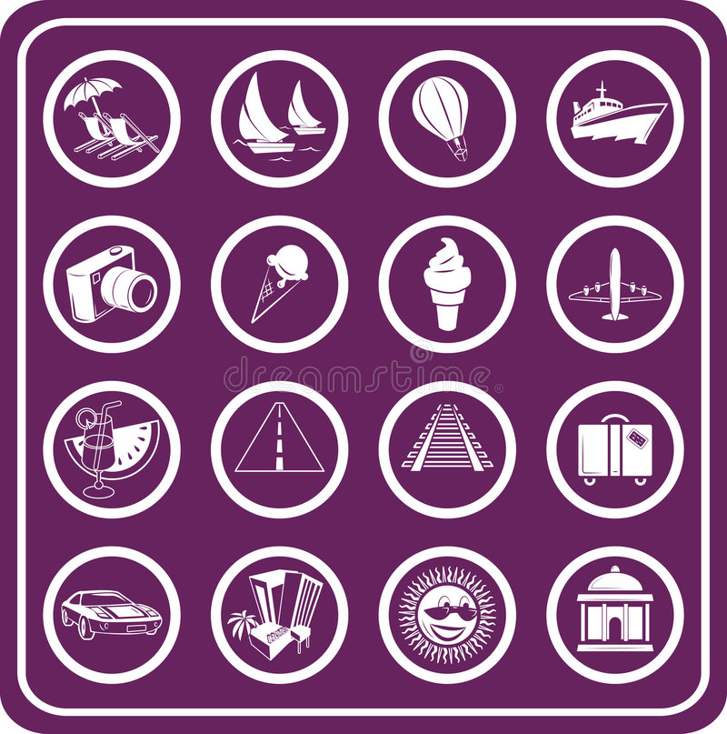 Free Travel And Tourism Icons Royalty Free Stock Photo - 895805