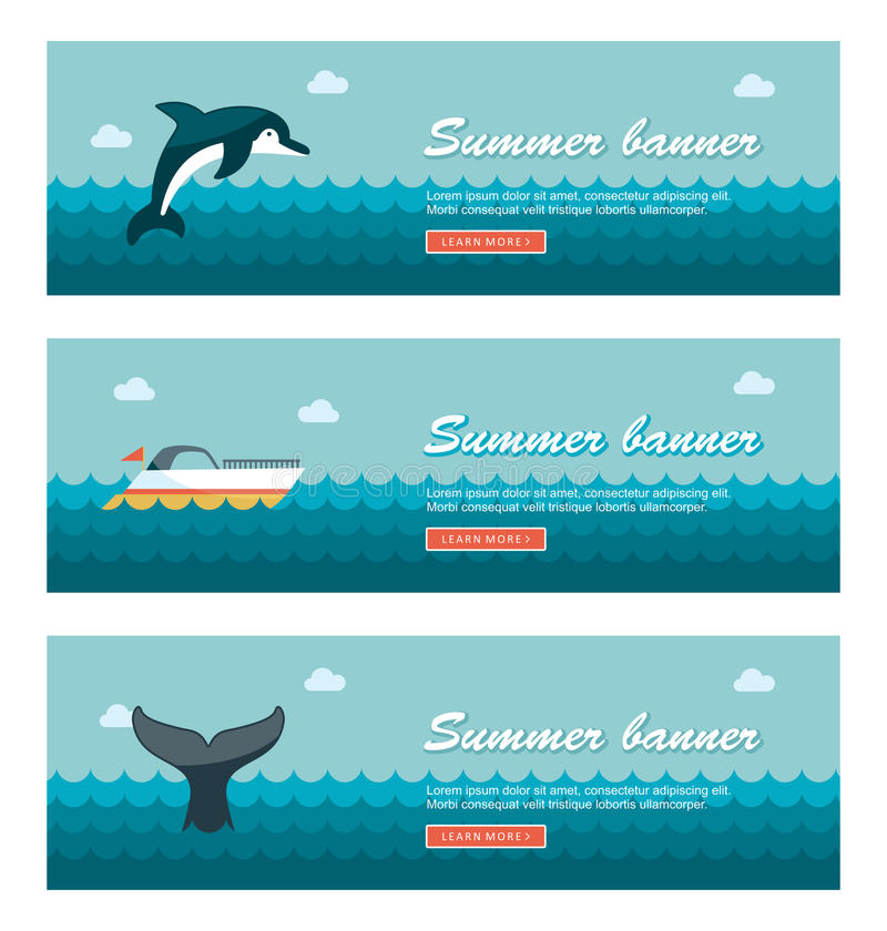 Free Travel And Vacation Vector Banners Royalty Free Stock Photo - 74198385