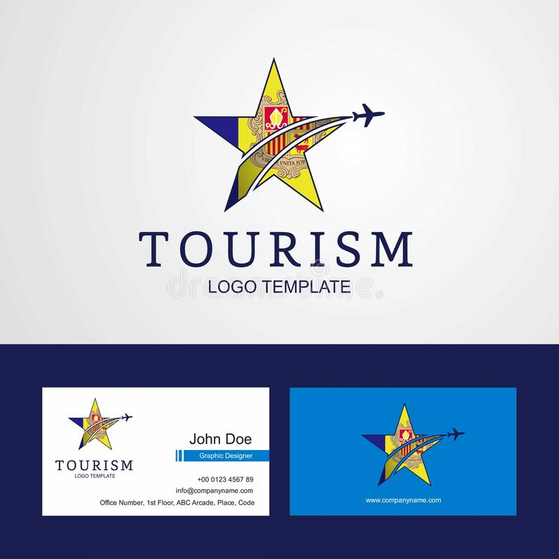 Travel Andorra flag Creative Star Logo and Business card design. This Vector EPS 10 illustration is best for print media, web design, application design user royalty free illustration