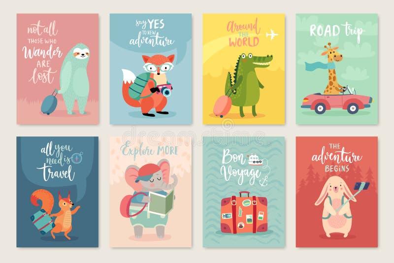 Travel Animals card set, hand drawn style, stock illustration