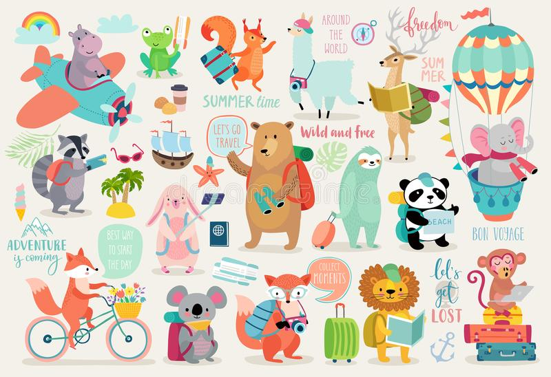 Travel Animals hand drawn style, Calligraphy and other elements. vector illustration