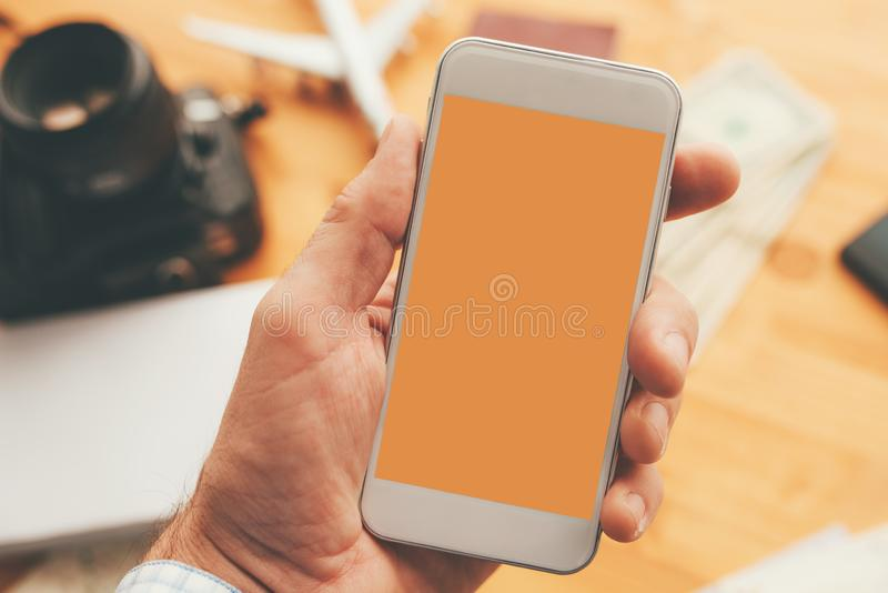 Travel app for mobile phone mock up screen royalty free stock images