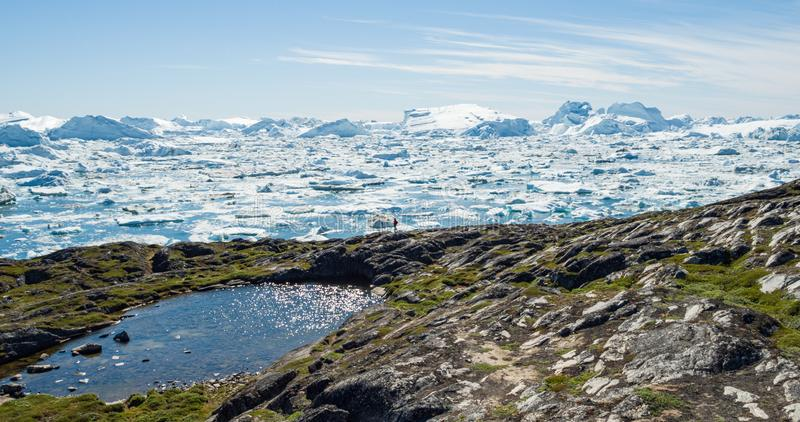 Travel in arctic landscape nature with icebergs - Greenland tourist man explorer. Tourist person looking at amazing view of Greenland icefjord - aerial image royalty free stock photo