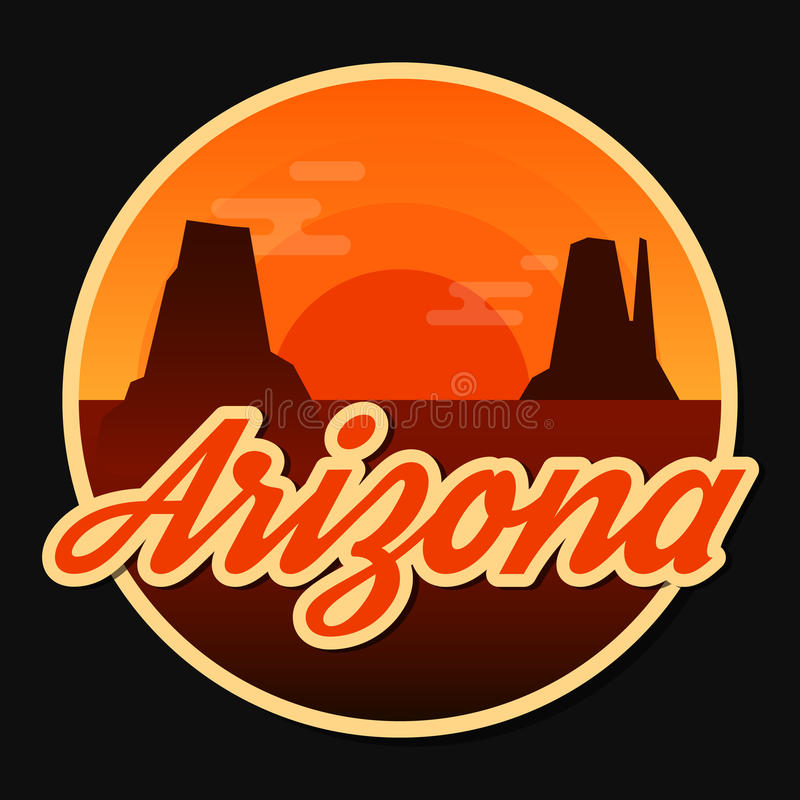 Travel Arizona destination retro round icon. Emblem, sticker or badge in cartoon flat style with shadow. Sunset in Monument Valley, USA. Eps10 royalty free illustration