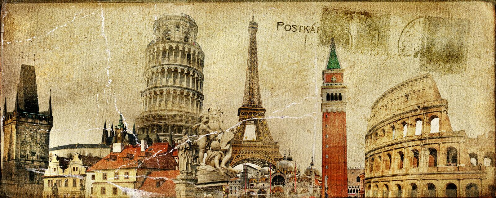 Travel - around Europe. Vintage post card - European holidays