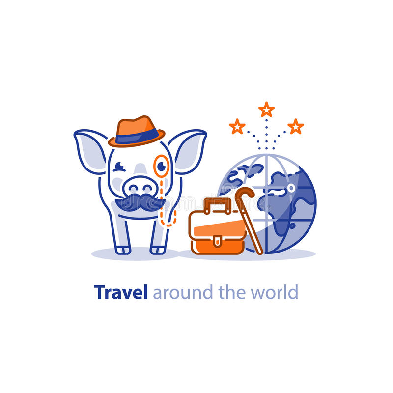 Travel around the world concept, tourism services, pig with baggage stock illustration