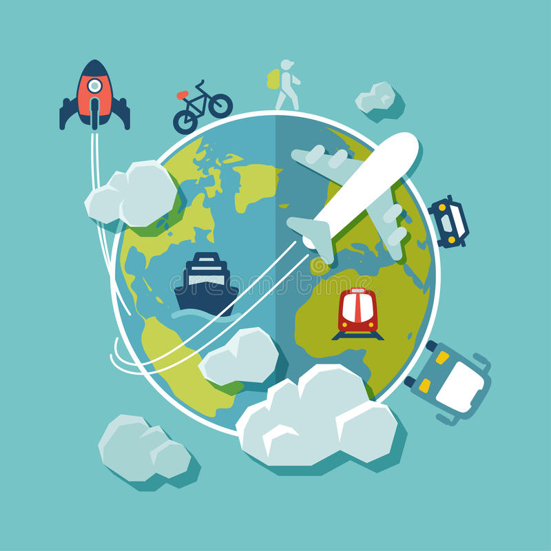 Travel Around The World Flat Design Stock Vector