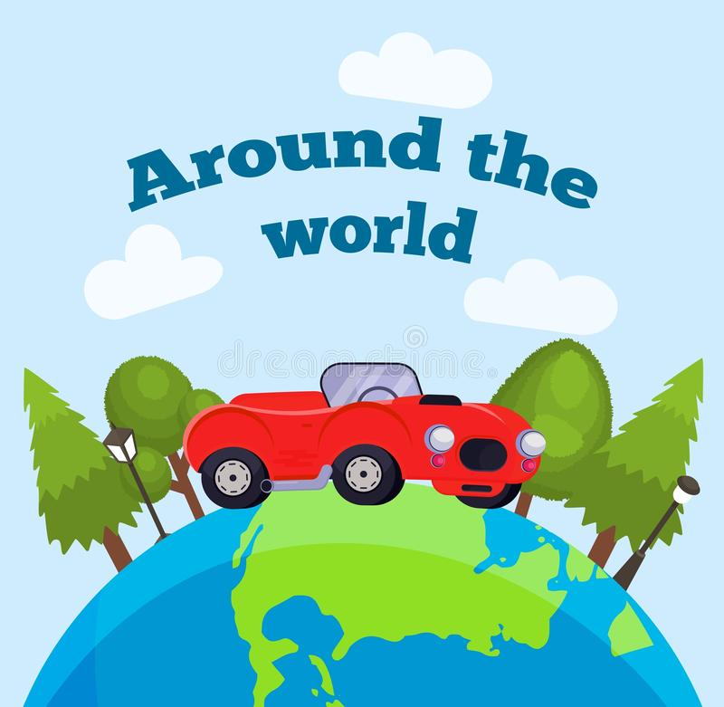Travel around the world, global travelling, international tourism and travelling by car concept vector illustration. Car stock illustration