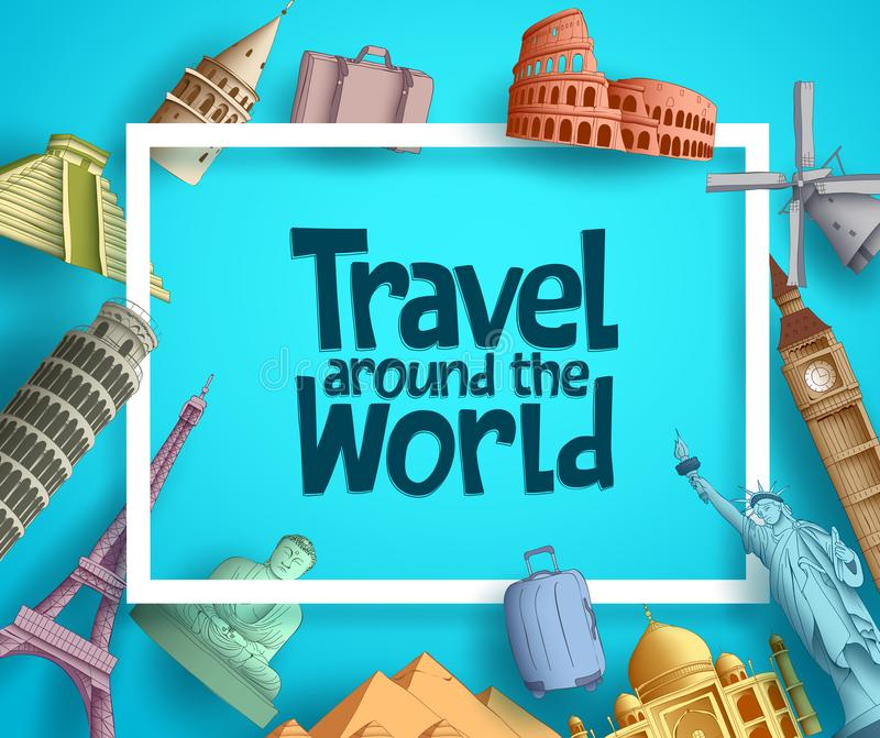 Travel around the world vector banner template design with frame royalty free illustration