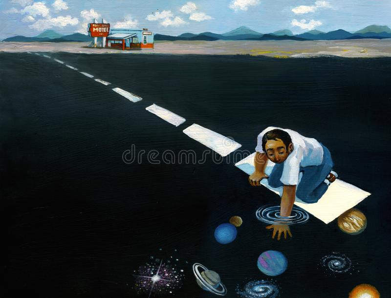 Travel as discovery. A guy in a typically american layer sees stars galaxies planets vector illustration