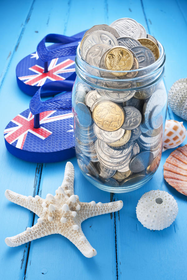 Travel Australia Coin Jar Superannuation royalty free stock photography