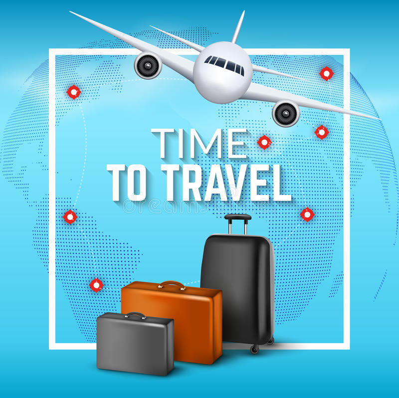Travel background with airplane and suitcases. World travel banner flyer design. Vacation concept stock illustration
