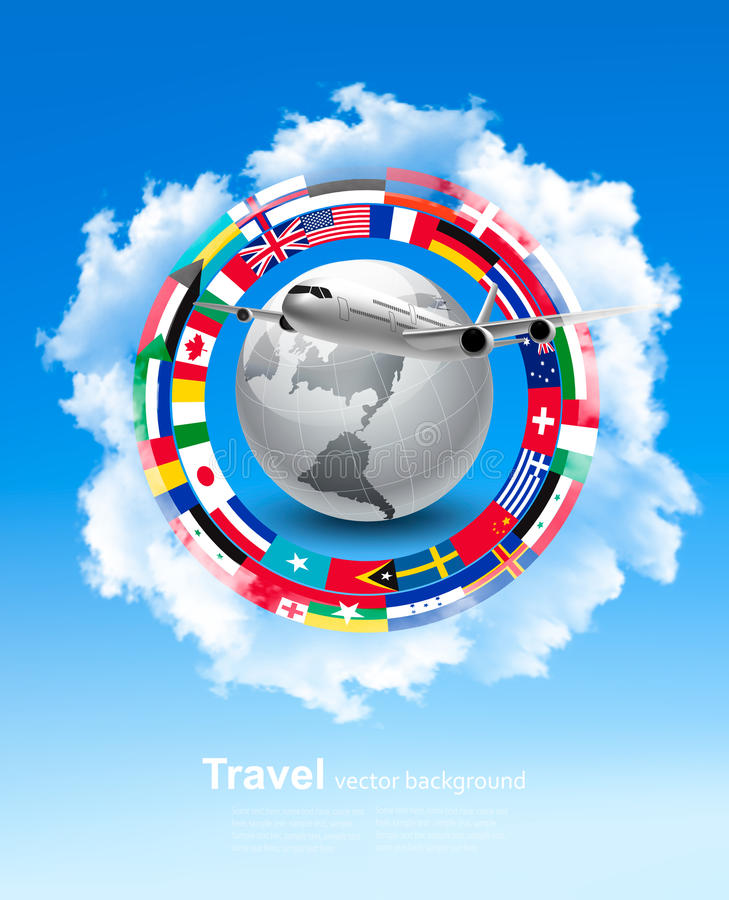 Travel background. Globe with a plane and a circle of flags royalty free illustration