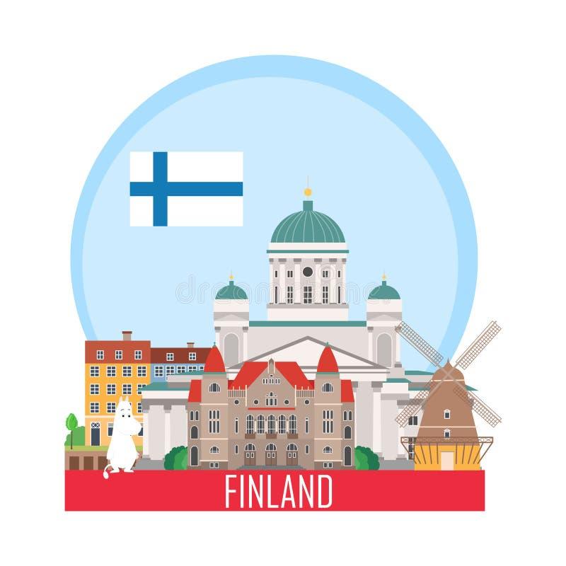 Travel background with landmarks of Finland stock illustration