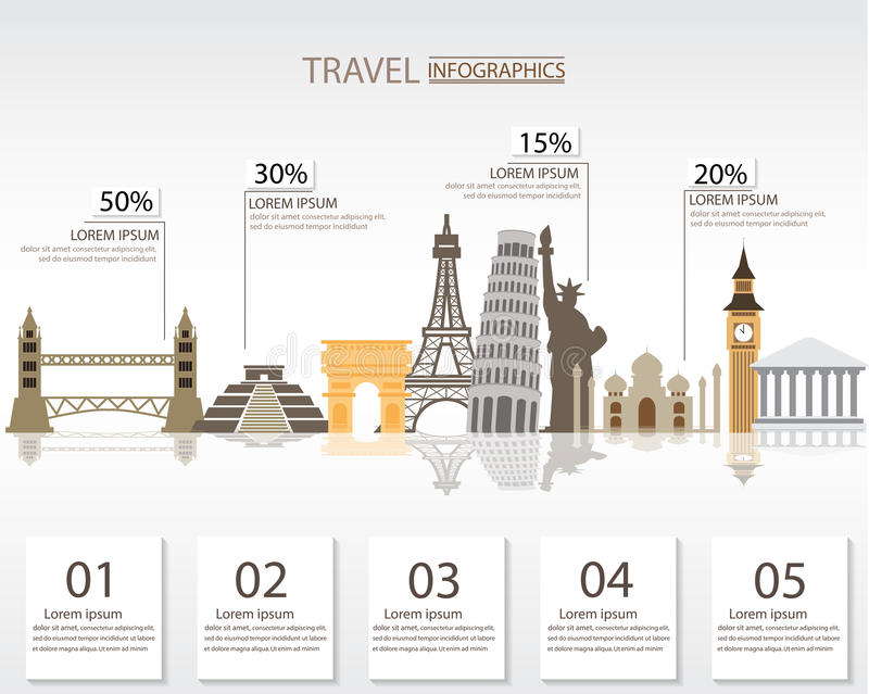 Travel background. World travel infographics elements. items are included world famous landmark, can be used for workflow layout, diagram, step up options, web stock illustration