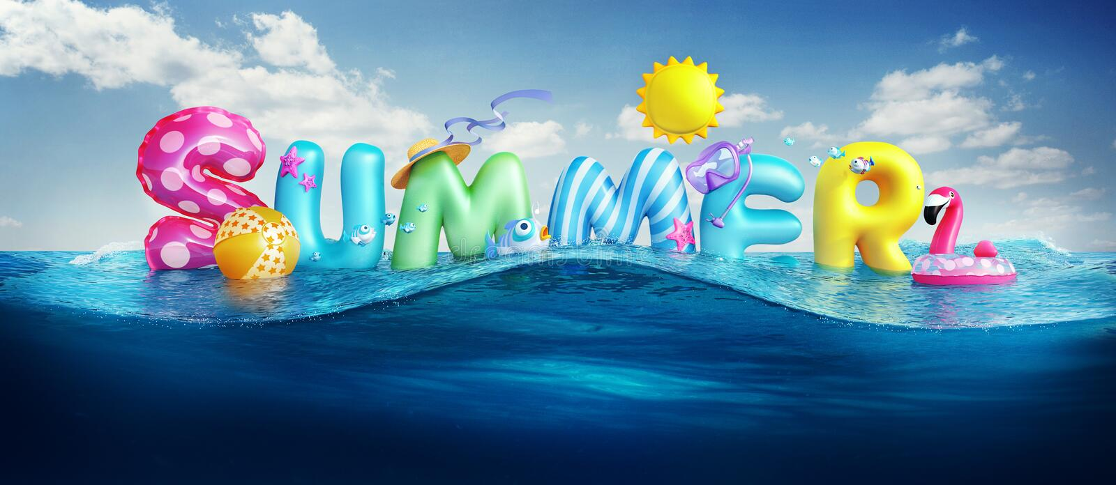 Travel backgrounds. Summer 3d rendered banner with 3D text and colorful balls, fishes, flamingo and the sun in blue sky and sea ba. Traveling backgrounds. Summer stock illustration
