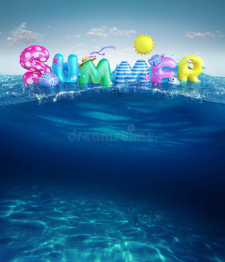 Travel backgrounds. Summer 3d rendered banner with 3D text and colorful balls, fishes, flamingo and the sun in blue sky and sea ba royalty free illustration