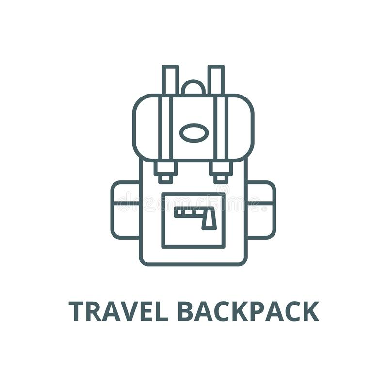 Travel backpack vector line icon, linear concept, outline sign, symbol royalty free illustration