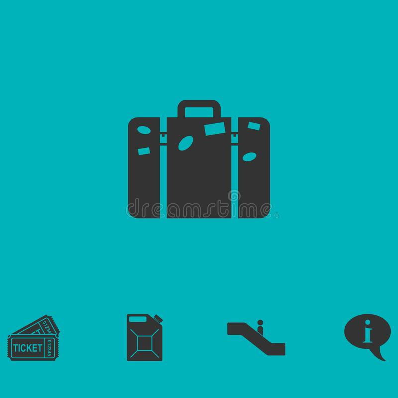 Travel bag icon flat stock illustration