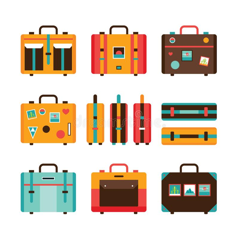 Travel bag icon set Colorful Suitcase collection stock illustration