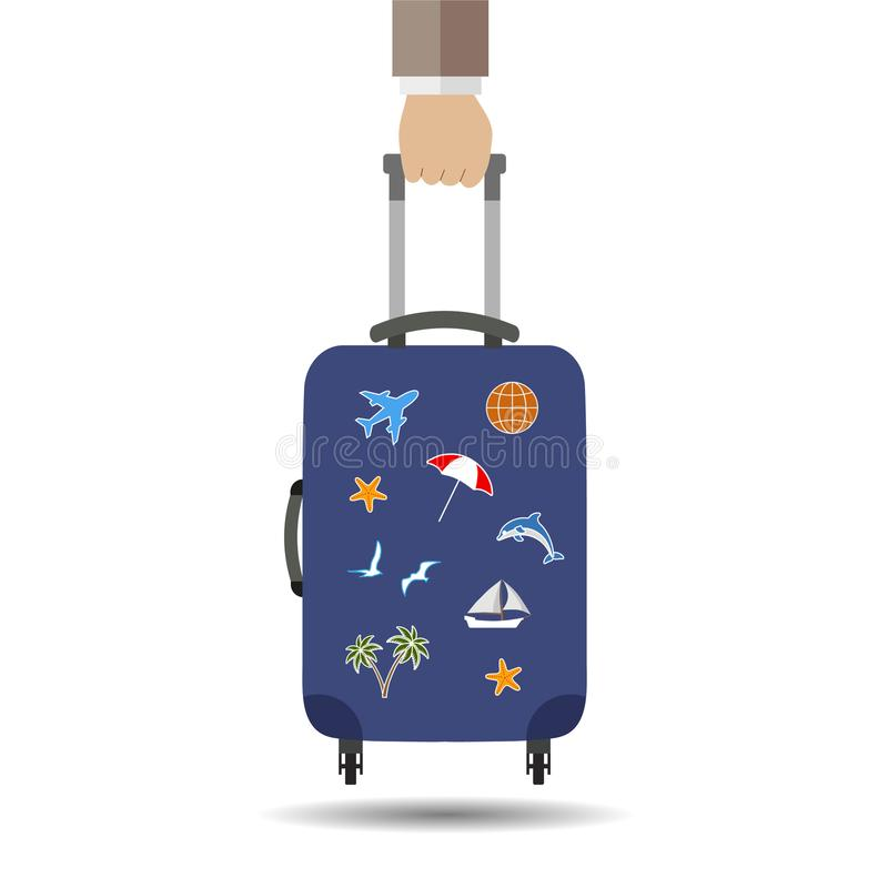 Travel bag, luggage isolated on white background. Man hand hold suitcase with stickers. Summer time, vacation, tourism concept. Fl vector illustration
