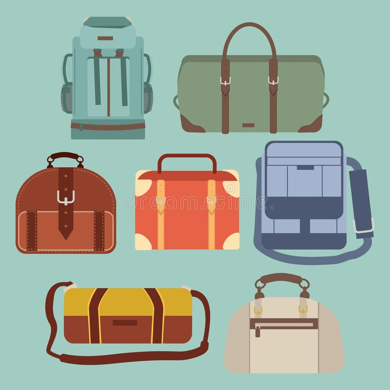 The collection of Travel bag set stock illustration