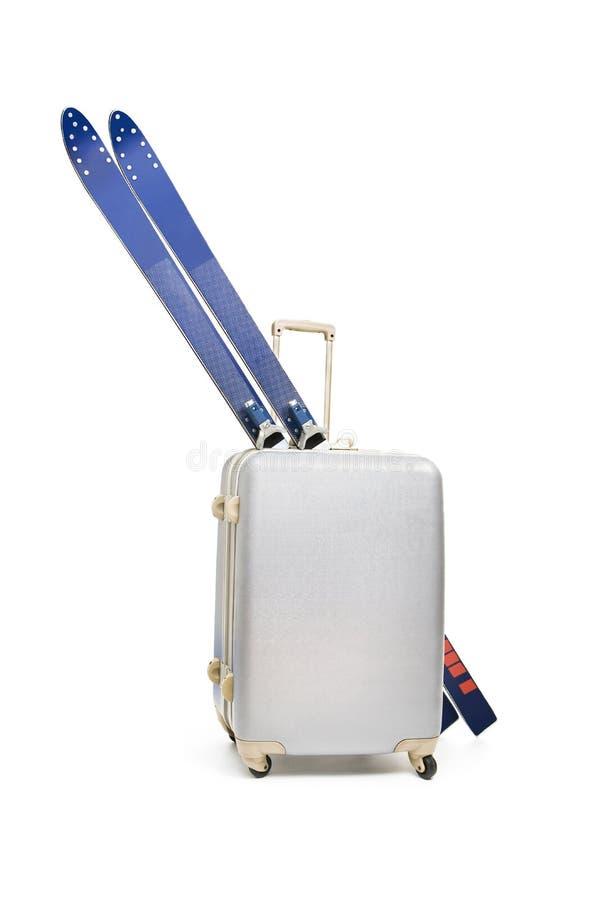 Travel bag and skis royalty free stock image