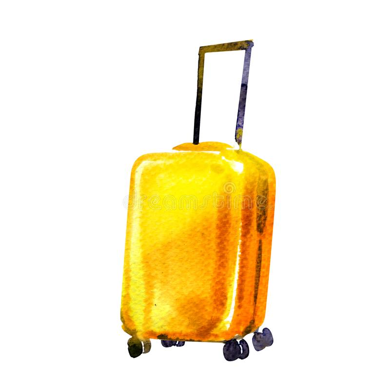 Travel bag, yellow wheeled suitcase isolated, icon, symbol of tourist trip, summer vacation and travel concept, hand. Drawn watercolor illustration on white royalty free stock image