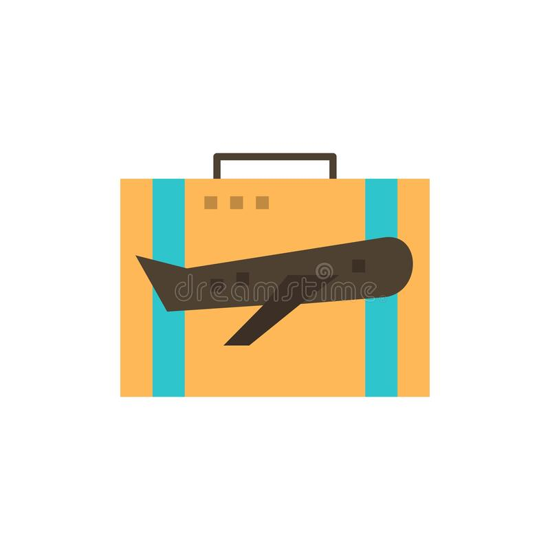 Travel, Baggage, Business, Case, Luggage, Portfolio, Suitcase  Flat Color Icon. Vector icon banner Template vector illustration