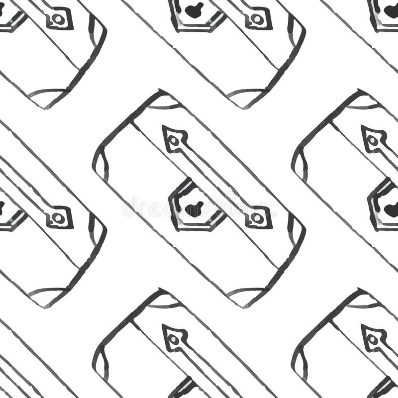 Travel baggage seamless pattern . fashion hand drawn ink style with black contour lines isolated on white backgrownd. repeatable t stock illustration