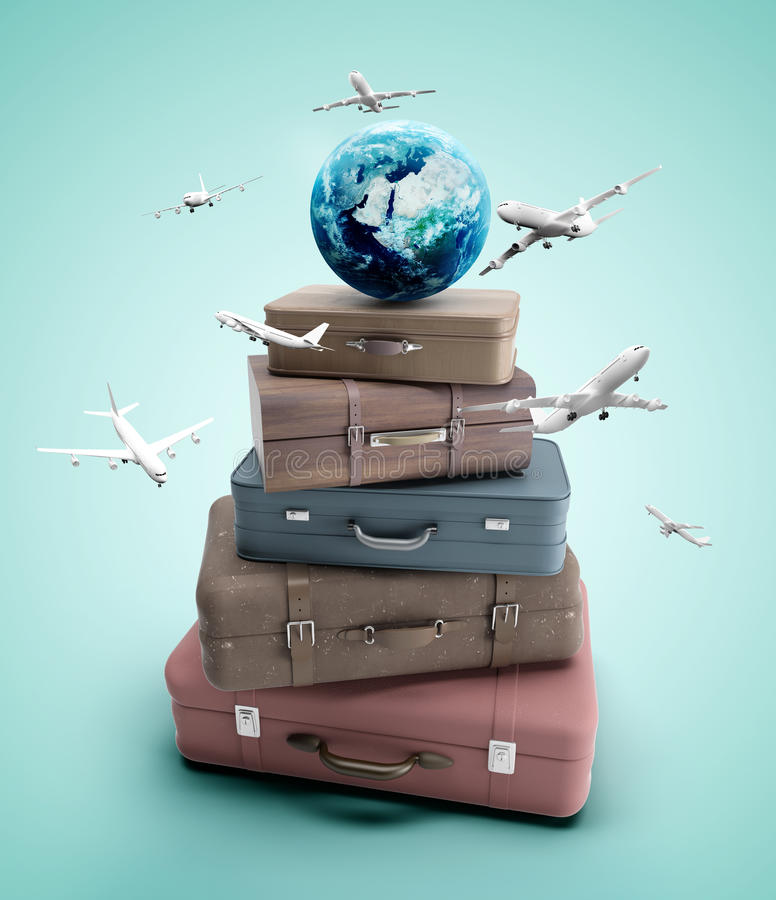 Travel bags and airplane royalty free stock photos