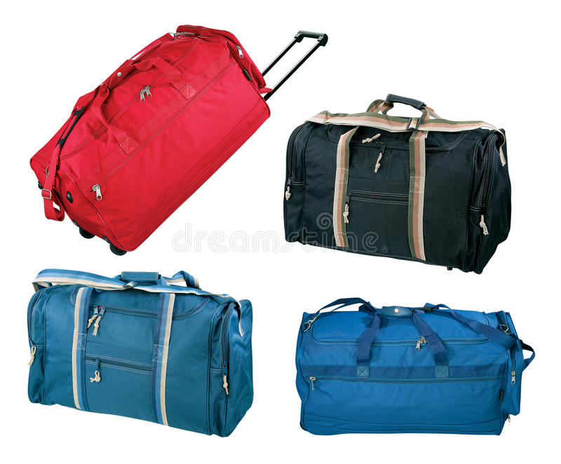 Travel bags collection. Isolated on white background royalty free stock images