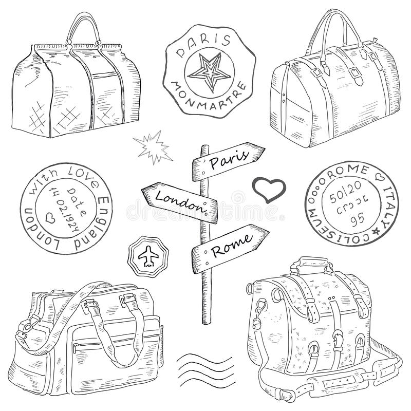 Sketch Drawing Luggage Bags Stock Illustrations