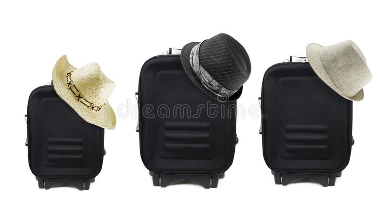 Travel bags with hats royalty free stock images